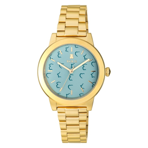 Gold-colored IP steel Glazed Watch