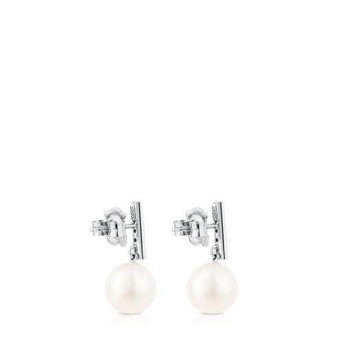 Pendientes Les Classiques Oro blanco con Diamantes y Perla