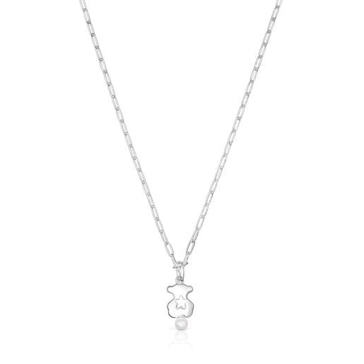Collar oso de plata y perla Magic Nature