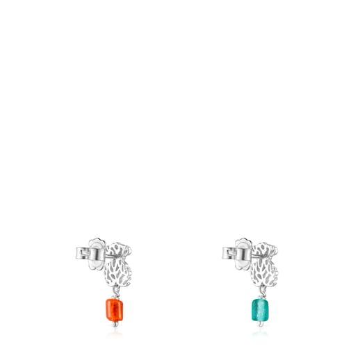 Pendientes oso de plata y glass naranja-azul Oceaan