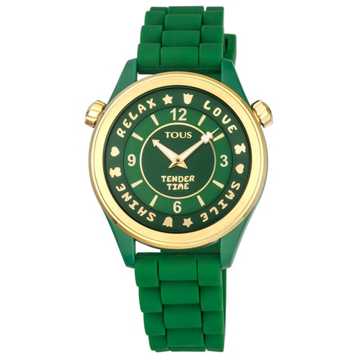 Gold-colored IP steel Tender Time Watch with green silicone strap