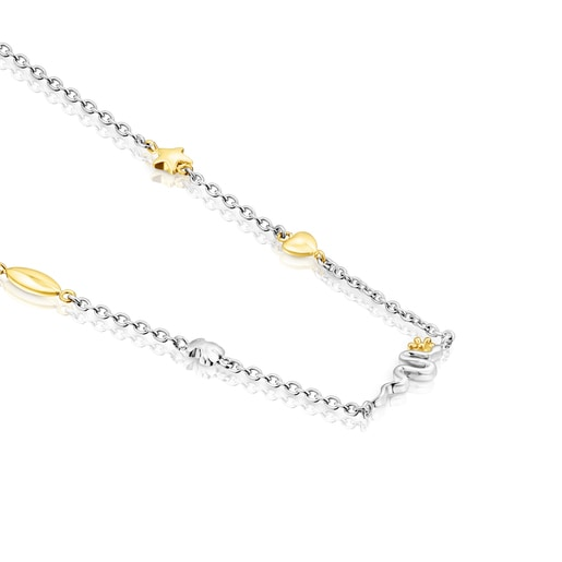Gold colored IP Steel Fragile Nature charm Necklace