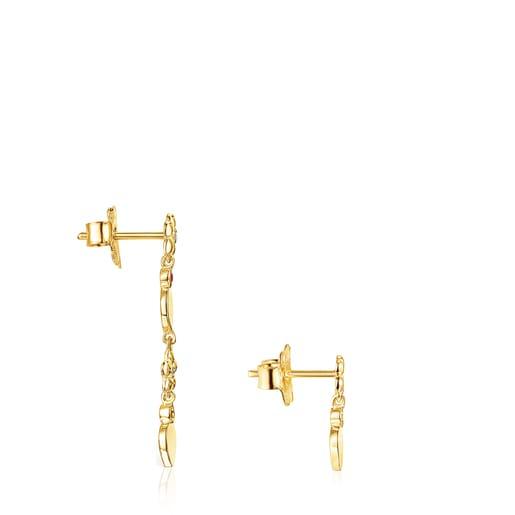Brincos curto-comprido Fragile Nature em Ouro, Diamantes e Rubi