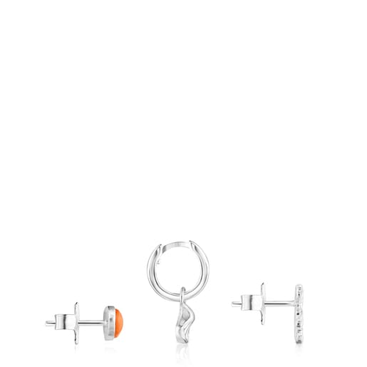 Set of Oceaan bear-shell Earrings with orange glass