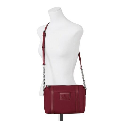 Small burgundy Empire Soft Chain Crossbody bag
