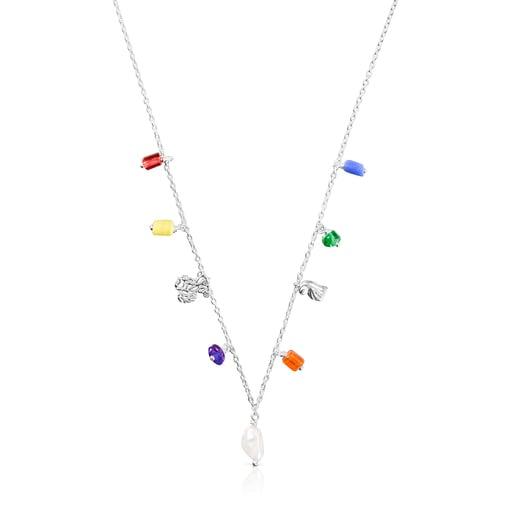 Κολιέ Oceaan από ασήμι με μαργαριτάρια και πολύχρωμο γυαλί