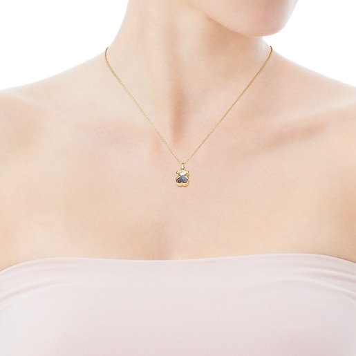 Gold Areia Necklace with blue sapphire