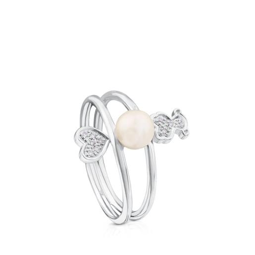 Bague Puppies en Or blanc avec Diamants et Perle.
