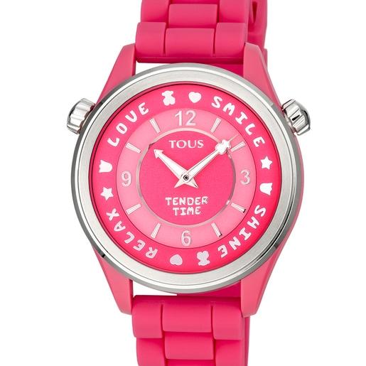 Relógio Tender Time em aço com correia de silicone rosa