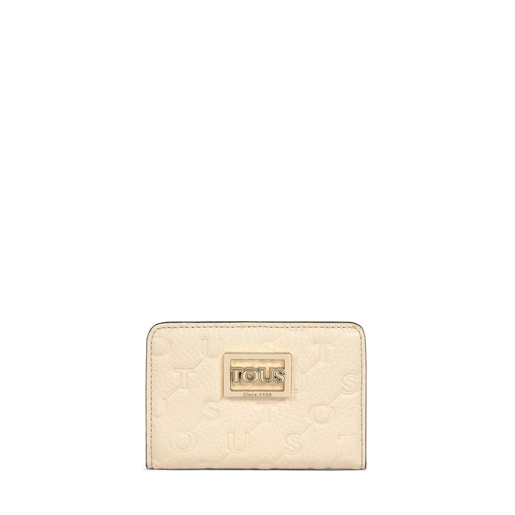 Small beige and brown Leather T Script Wallet
