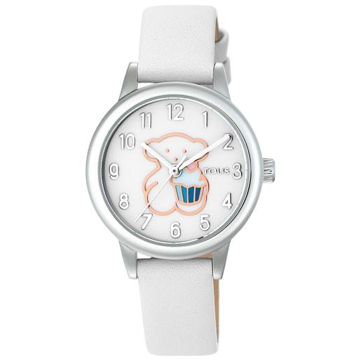 Reloj New Muffin de acero con correa de piel blanca