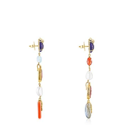 Lange Kamee Ohrringe Oceaan Color aus Vermeil-Silber mit pinkfarbenem Glas und Edelsteinen