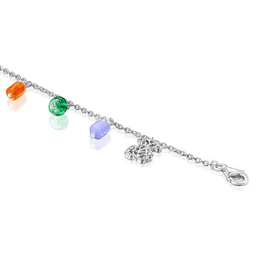 Pulsera oso de plata, perla y glass multicolor Oceaan