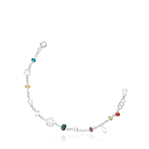 Silver Fragile Nature Bracelet with Gemstones