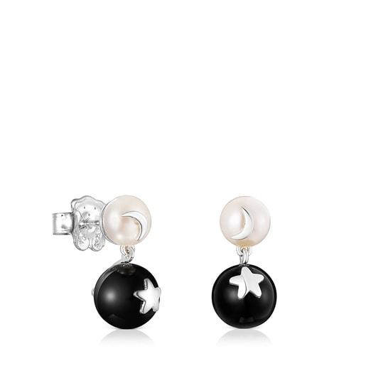 Pendientes luna-estrella perla y espinela Magic Nature