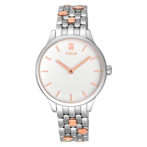 Reloj Mini Icon bicolor acero/IP rosado