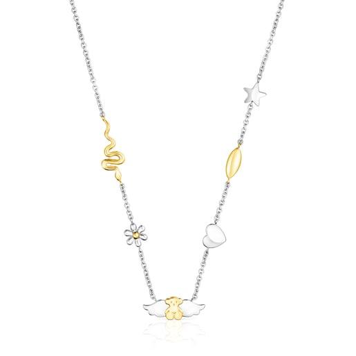 Collar Fragile Nature motivos-oso de acero/IP dorado