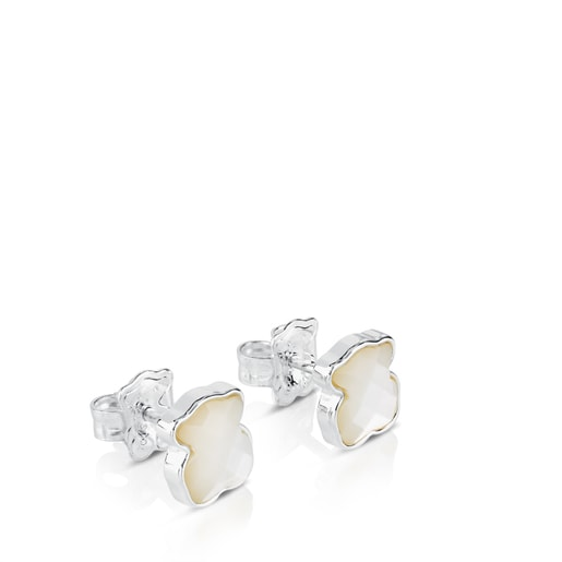 Silver TOUS Color Earrings with faceted mother-of-pearl Bear motif