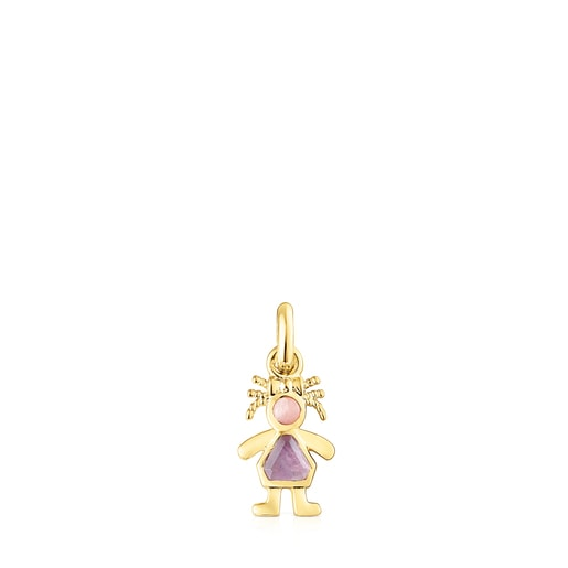 Silver Vermeil TOUS Mama girl bow Pendant with Gemstones