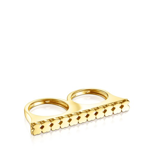 Doppelter Ring Straight aus Vermeil-Silber
