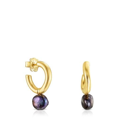 Small silver vermeil Hav Hoop earrings with gray pearl