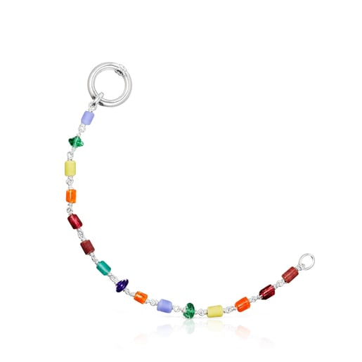 Long silver Oceaan Hold Necklace with pearls and multicolored glass