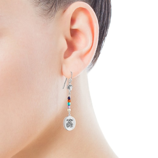 Long silver Oceaan Color cameo Earrings with gemstones and pearls