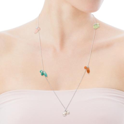 Collar Amelie de Plata con Berilo, Cuarzo rosa y Perla