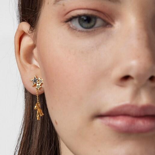 Short/long Silver Vermeil Teddy Bear Stars Earrings with Gemstones