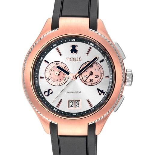 Reloj ST bicolor de acero/IP rosado con correa de Caucho negra