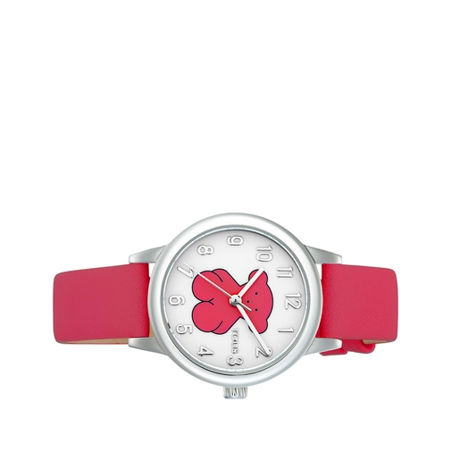 Reloj New Muffin de acero con correa de piel fucsia