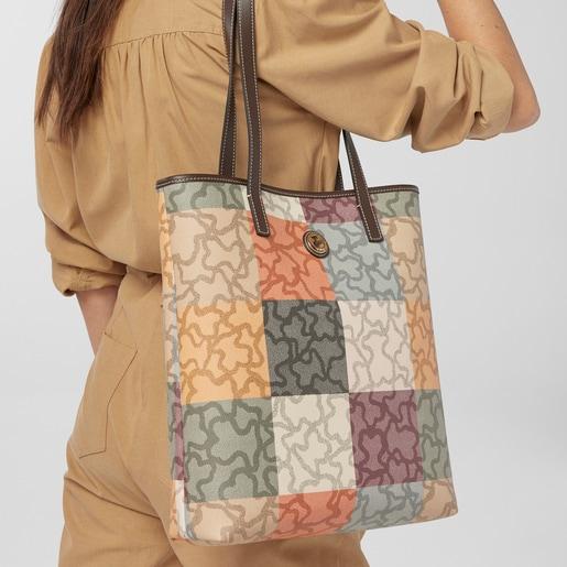 Orange-brown colored Kaos Cuadrados Shopping bag