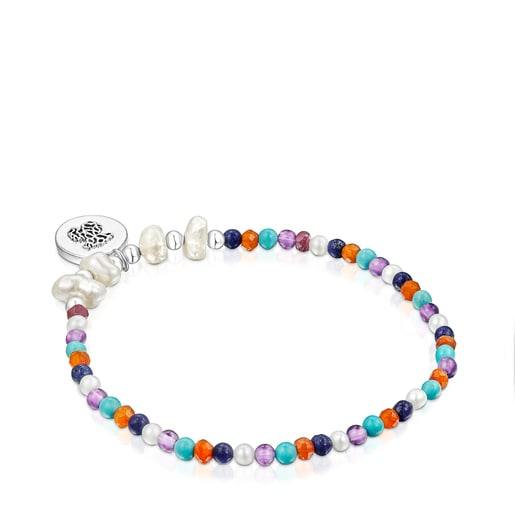 Silver Oceaan Color cameo Bracelet with pearls and gemstones