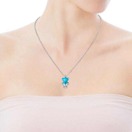Silver Teddy Bear Pendant with blue enamel - Online exclusive