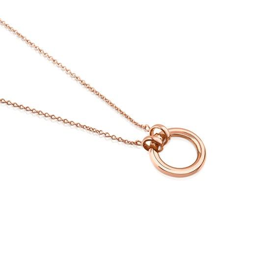 Collaret Hold de Plata Vermeil rosa amb anella de 16mm