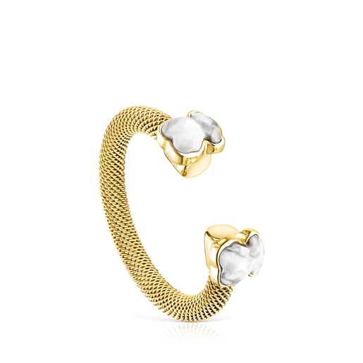 Gold-colored IP Steel Mesh Color open Ring with Howlite