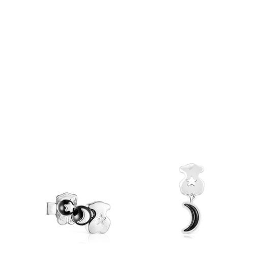 Pendientes oso-luna de plata y espinelas Magic Nature