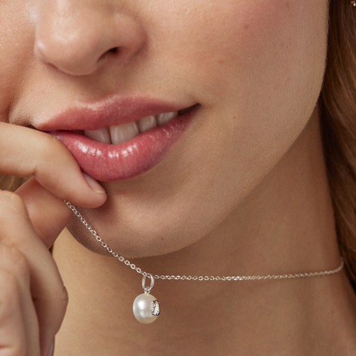 Silver TOUS Sweet Dolls Necklace with pearls