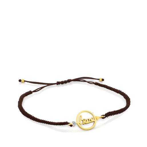 Pulsera San Valentín de Oro, Diamantes y Cordón en color marrón