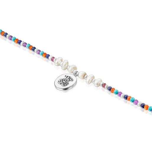 Collar camafeo de plata con perlas y gemas Oceaan Color
