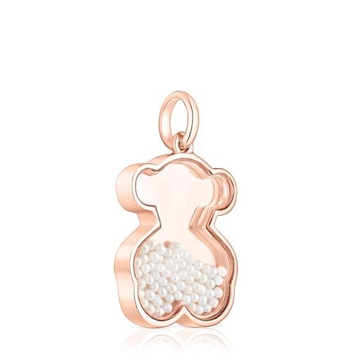 Colgante de plata vermeil rosa y perlas Areia
