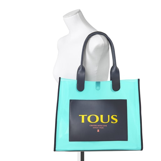 Large blue Amaya Vinyl transparent Shopping bag
