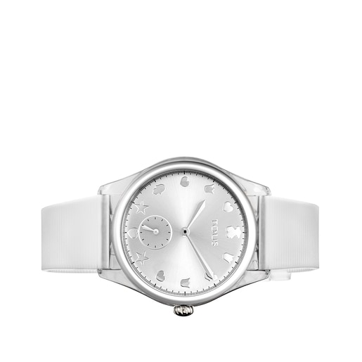 Steel and Poly-carbonate Free Fresh Watch with White Silicone Strap