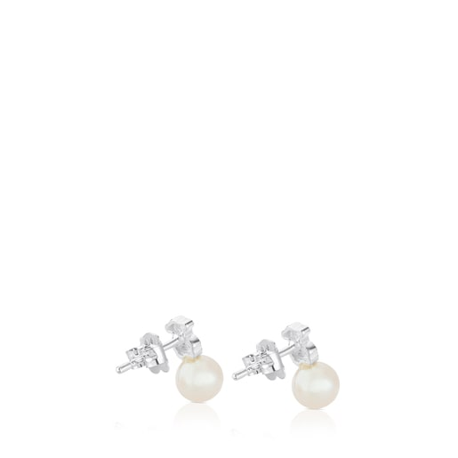 Silver TOUS Puppies Earrings with pearls