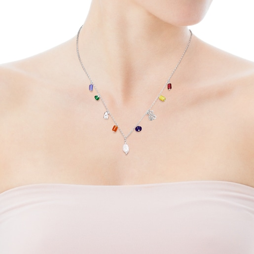 Silver Oceaan Necklace with pearls and multicolored glass
