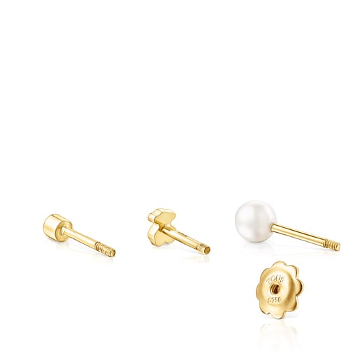 Pack of gold TOUS Pearl ear Piercings with diamond and pearl