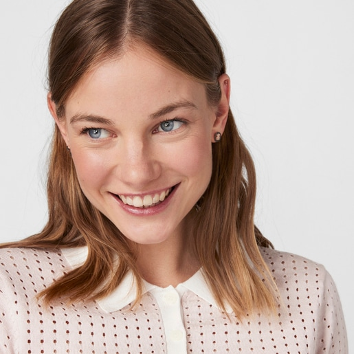 Rose Vermeil Silver TOUS Camille Earrings with Spinels Bear motif