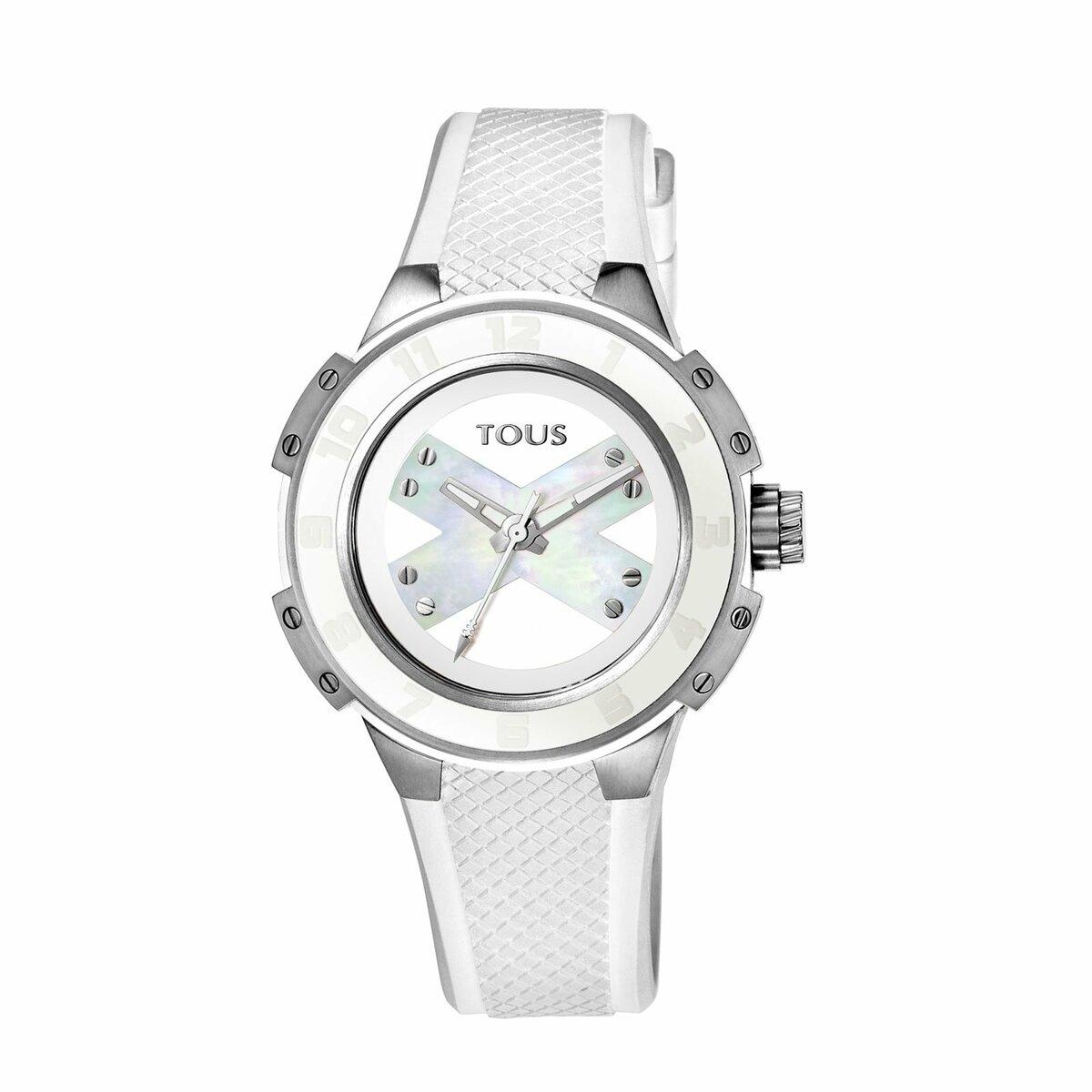Reloj Xtous Lady de acero con correa de silicona blanca