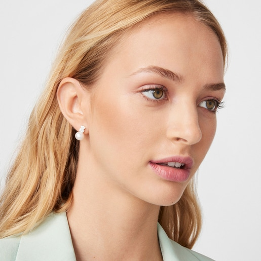 Silver and Pearls TOUS Sweet Dolls Earrings Bear motif