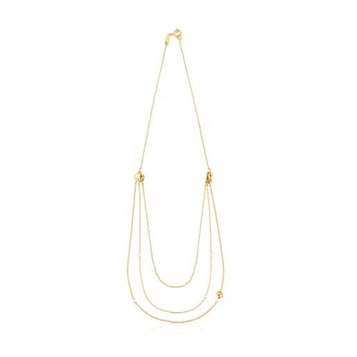 Collar conchas-cadenas de oro y perlas Oceaan